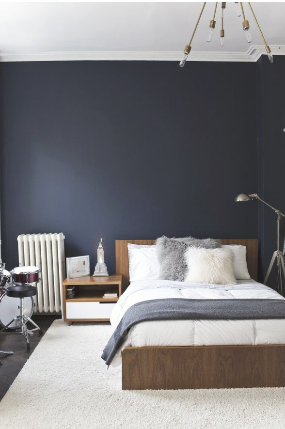 mörkblå gardiner sovrum