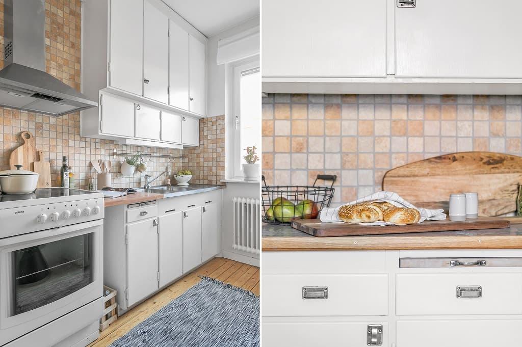 två bilder på ett kök med vit inredning och brunt kakel