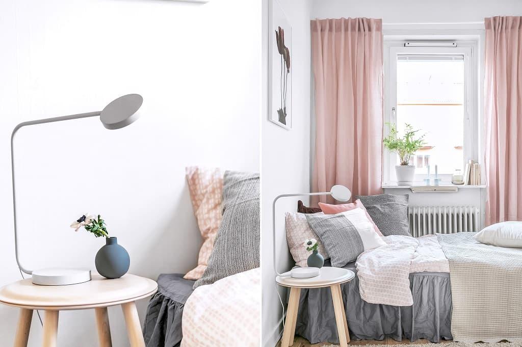 två bilder på sovrum, till vänster nörbild