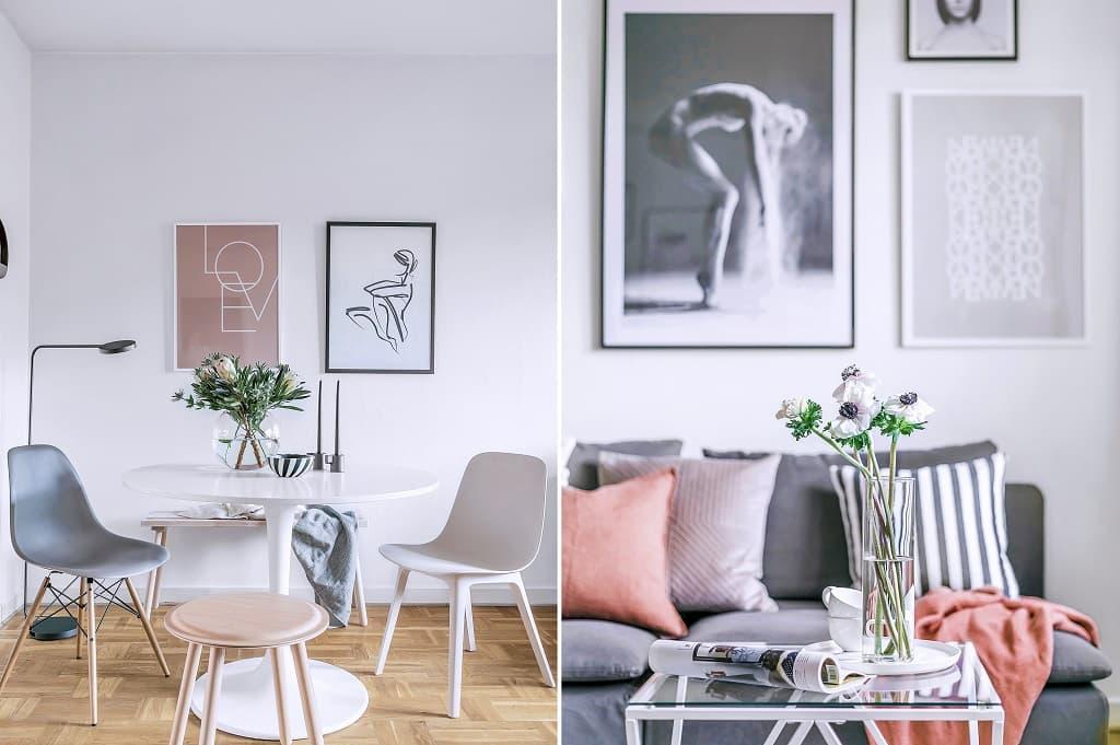 två bilder på vardagsrum med matplats och närbild på soffbord med soffa i bakgrunden